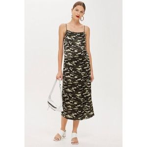 Topshop Camo midi slip dress 8 with flaw